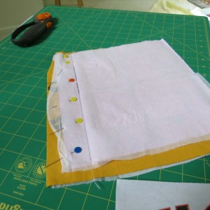Pinned for sewing square