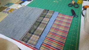 3 blocks lined up ready to sew