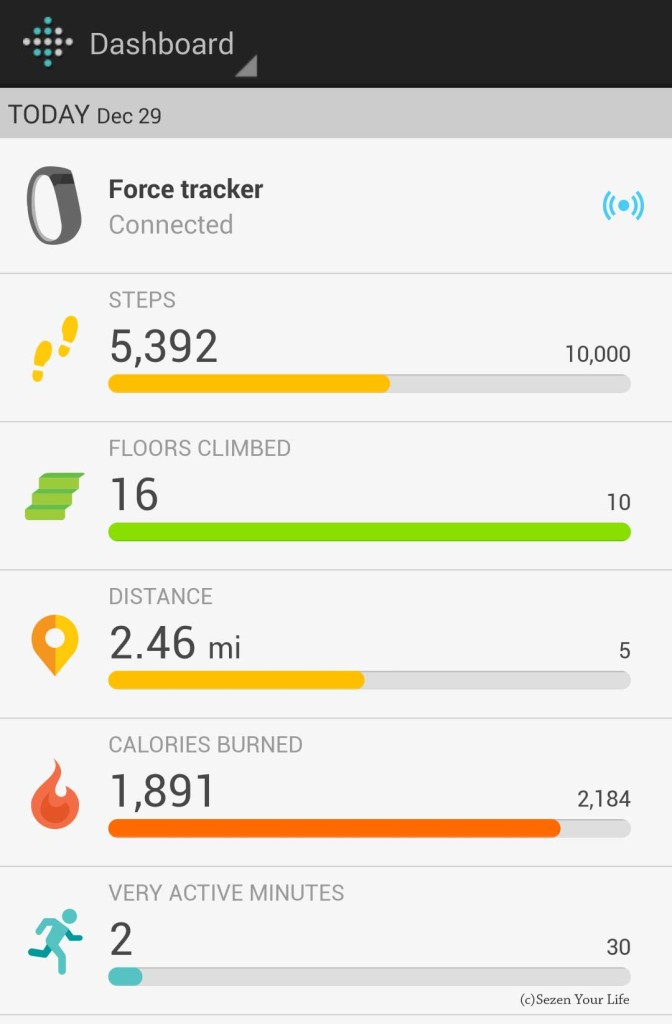 Fitbit Force App Home Screen
